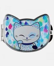 Miroir de sac forme chat porte bonheur Mani the Lucky Cat bleu gris