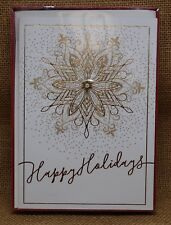 Brand New Box of Paper Magic Group Christmas Cards Gold Snowflake Happy Holidays