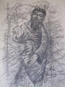 Zeichnung Noah mit der Friedenstaube unbekannter Künstler 50x37cm um 1900