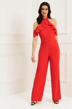 Bnwt Lipsy Orange Culotte Ruffle Halterneck Jumpsuit UK10