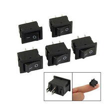 5Pcs Mini Boat On/Off Rocker Toggle Switch Snap-in 2Pin Black Button Toggle SPST