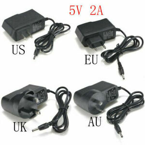 5V2A 2000mA AC Adapter to DC Power Supply Charger Cord 3.5/1.35mm EU/US/AU plug