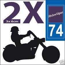 2 stickers autocollants style plaque immatriculation moto Département  74
