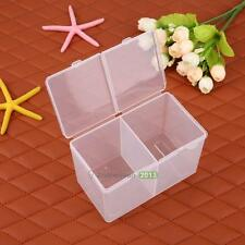 Clear Plastic Cotton Swab /Nail Art Storage Box Container Organizer Case Tool