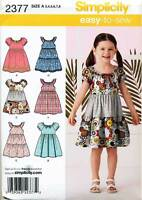 SIMPLICITY SEWING PATTERN 2377 GIRLS SZ 3-8 EASY PULLOVER PEASANT STYLE DRESS