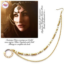 Indian Gold Bollywood Ethnic Nath Nose Ring Wedding Bridal Traditional Jewelry