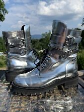 Vicini Tappet Metallic Silver Ankle Boots EU 38 US 7.5 Made in Italy