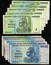 5 x 10 Trillion + 5 x 1 Million Zimbabwe Dollars Bank Notes AA AB 2008 Set 10PCS