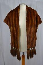 VINTAGE 1930s caramel brown mink fur wrap stole shawl with tassels