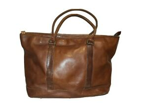 LL Bean Brown Leather Tote Bag.