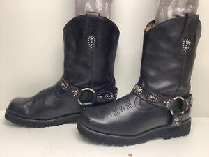 VTG WOMENS ROPER HARNESS COWBOY BLACK BOOTS SIZE 10