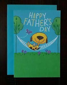 HAPPY FATHER'S DAY CARD - Hallmark Greeting Card - Cute Dog in Hammock - Fun
