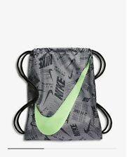 Nike Graphic Kids' Gymsack Grey Black Lime Drawstring (Kid's Boys Bag) BNWT UK