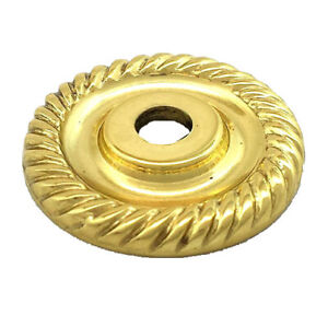 """LOT 10 Amerock Solid Polished Brass 1"""" Knob Ribbed Small Backplate Drawer Door"""