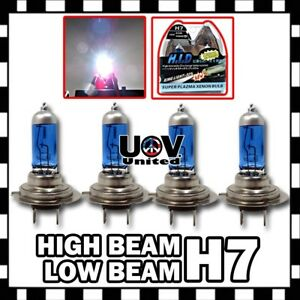 H7 5000K 100W Power White Gas Xenon Halogen High Low Beam Combo Headlight Bulbs