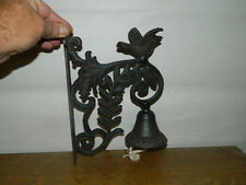 "Bird Ornate Wall Mounted Cast Iron Dinner Bell Garden Humming Finch 9 1/2"" Tall"