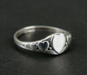 Uncas Ring Silver Hearts Vintage Kiddiegem Sterling 925 Size 2 1/2 Child's 1934