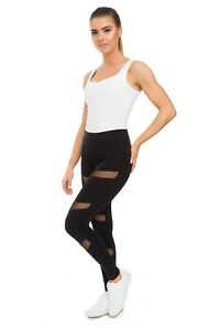 Womens Black Ripped Style Leggings Gym Workout Pants Mesh Inserts on Front FS151