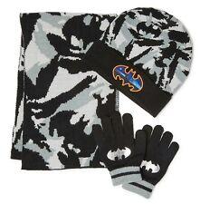 BATMAN DC COMICS Knit Winter Beanie Hat, Gloves & Scarf Set Ages 4-12 NWT