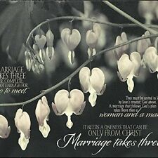 Marriage Takes Three Floral Vintage Black And White 8x10 Wood Wall Plaque
