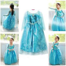 Girls FROZEN Princess ELSA Queen Dress Costume Party Fancy Dress CROWN Cosplay