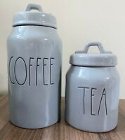 NEW Rae Dunn Set Coffee And Tea Gray Black Ceramic Canister Container Kitchen 26