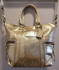 COACH Poppy F13819 Leather Metallic Gold Spotlight Pocket Tote EUC **One Owner**