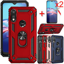 For Motorola Moto E (2020) / E7 Case Hybrid Armor Stand Cover + Screen Protector