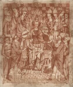 CORONATION OF A MEDIEVAL KING OF ENGLAND Engraving LIBER REGALIS - 19TH CENTURY