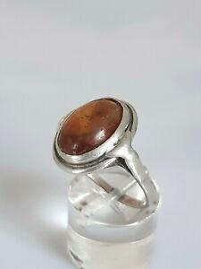 Traumhafter antiker Ring Silber 900, besetzt mit Bernstein, 18,3mm