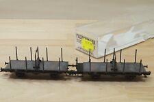 "Fleischmann 5952 K , couplage de 2 wagons à tablier rotatif "" patiné "" en BO"