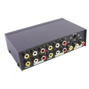 4 Port RCA Video Audio AV 1 In 4 Out TV Splitter Box 1 to 4 Screen