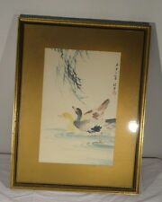 Antique Vintage Chinese Watercolor Painting of Ducks Mid Century Republic
