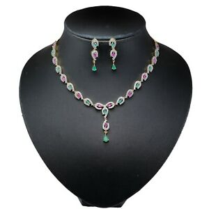 Ruby Emerald Stone Cubic Zirconia Necklace Earring Set 14 MN 7