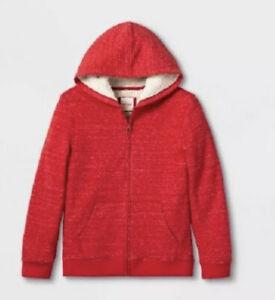 Cat & Jack Boys Sherpa Lined Full-Zip Hoodie Red
