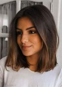 100% Human Hair Wig New Short Natural Dark Brown Straight Full Wigs Fashion