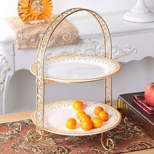 Glossy 2-Tire Cupcake Platter Metal Display Stand Serving Plate Rack Event