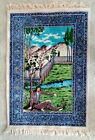 Arabian Style Blue Border Mountains Man Under Tree Wall Hanging Tapestry Rug