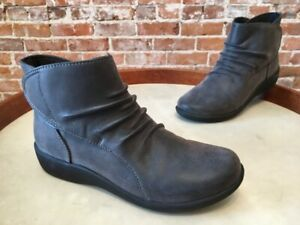 Clarks Grey Cloud Steppers Ruched Ankle Boot Sillian Sway 5 NEW