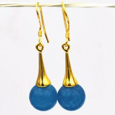 10mm Blue Apatite Round Gemstone Dangle Gold Plated Hook Fine Fashion Earrings