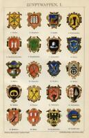 Stampa Antica 1898 = STEMMI CORPORAZIONI Commercio = CROMOLITOGRAFIA Old Print
