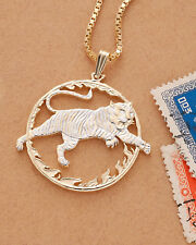 """Bengal Tiger Pendant , Hand Cut Chinese Tiger Coin,1 1/4"""" in Diameter ( # 558 )"""