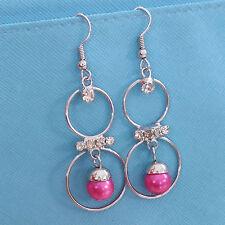 NEW Womens Pink Beads Rheinstones Cute Drop Dangle Hoop Hook  Earrings #800169