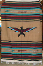 Mexican Blanket Throw Thunderbird GOLD Center Woven BIG 5'x7' size