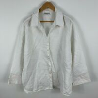Sara Linen Blouse Top Womens 22 Plus White Long Sleeve Button Closure Collared
