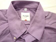 E7944 Olymp Luxor Businesshemd Kombimanschette 41 dunkellila meliert Unifarben