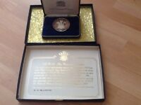 1969 PRINCE OF WALES INVESTITURE 110gr .999 FINE SILVER MEDAL -in original box.