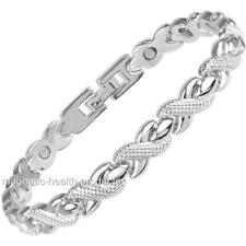 LADIES MAGNETIC HEALING BRACELET SILVER PLATED BANGLE ARTHRITIS PAIN RELIEF 245