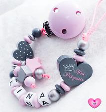 Schnullerkette mit Namen ♥ Mini Prinzessin ♥ Krone ♥ Baby Mädchen rosa grau
