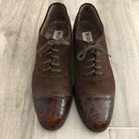 Mario Bruni Womens Size 8 Brown Suede Leather Lace-Up Animal Print Cap Toe Shoes